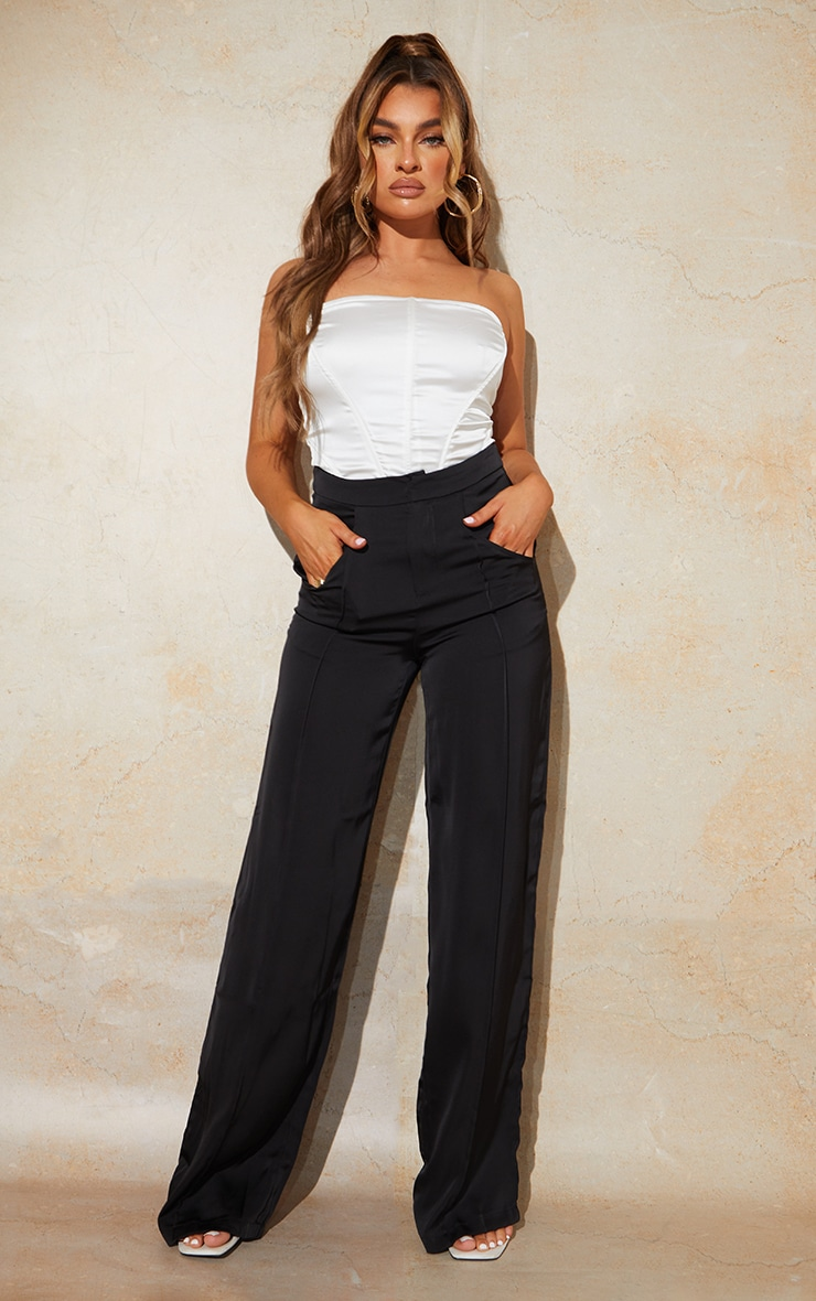 Black Satin Pintuck Pocket Detail Wide Leg Pants 1