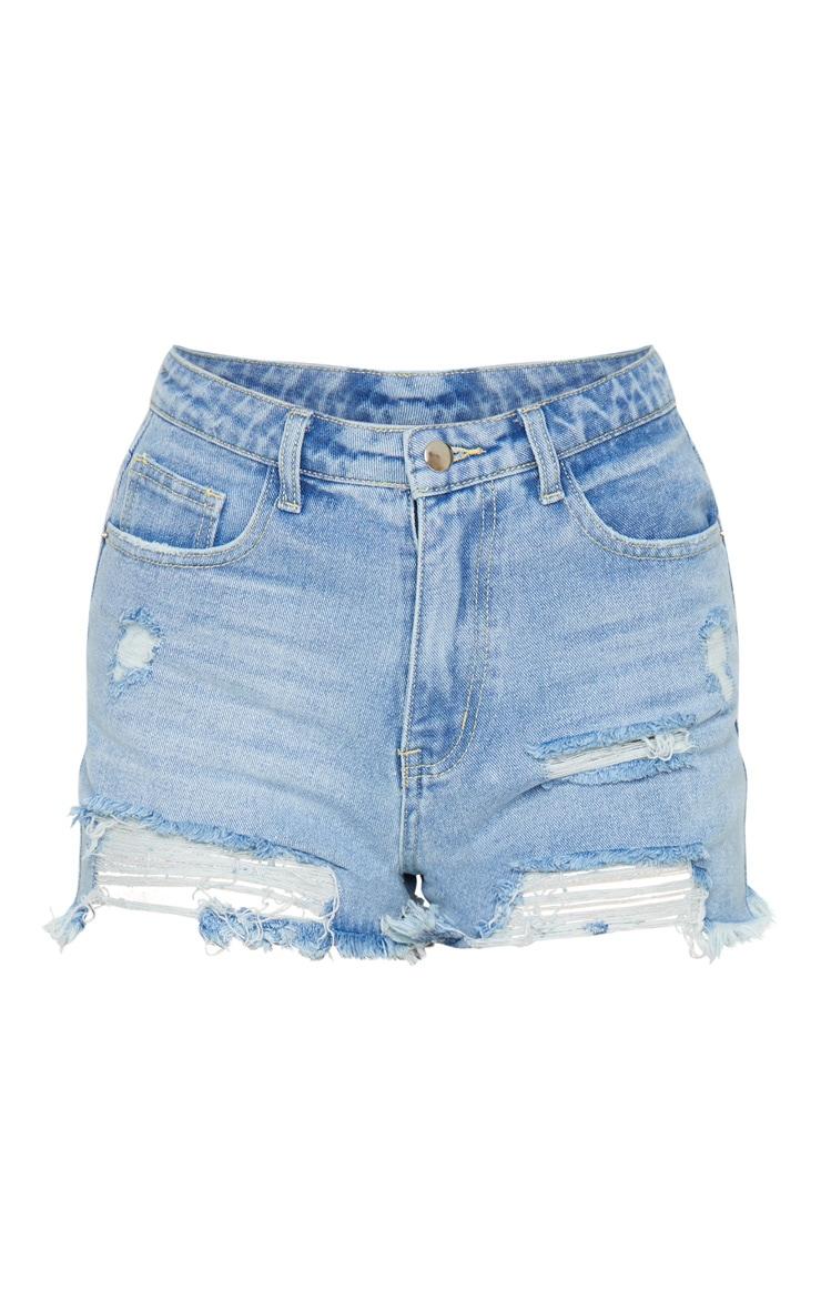 PRETTYLITTLETHING Light Blue Wash Distressed Denim Shorts 5