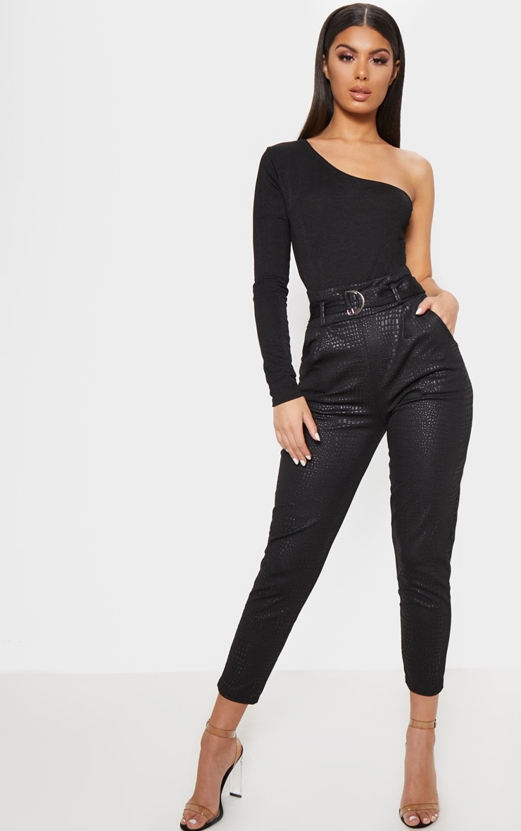Black Croc Print D Ring Belted Skinny Trousers 1