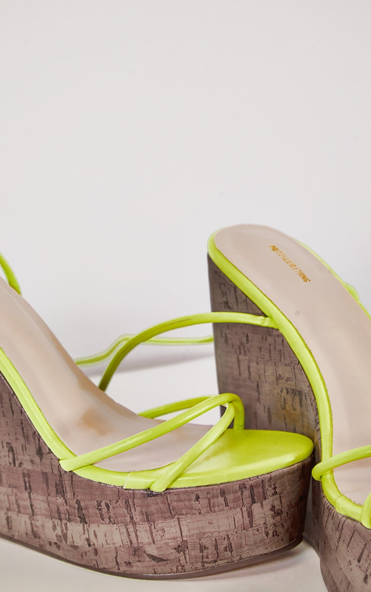 Lime Lace Up Cork Wedge 4