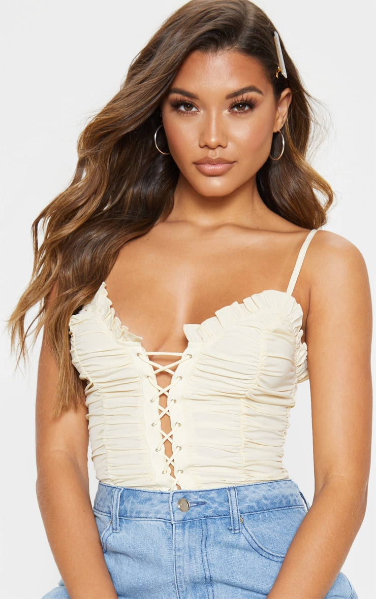 Cream Woven Ruched Lace Up Corset Top 5