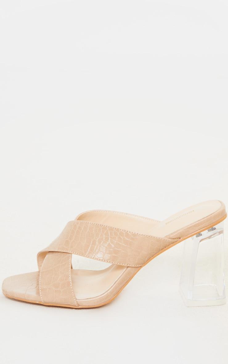 Nude Wide Fit Cross Strap Clear Heel Mule Sandal 4