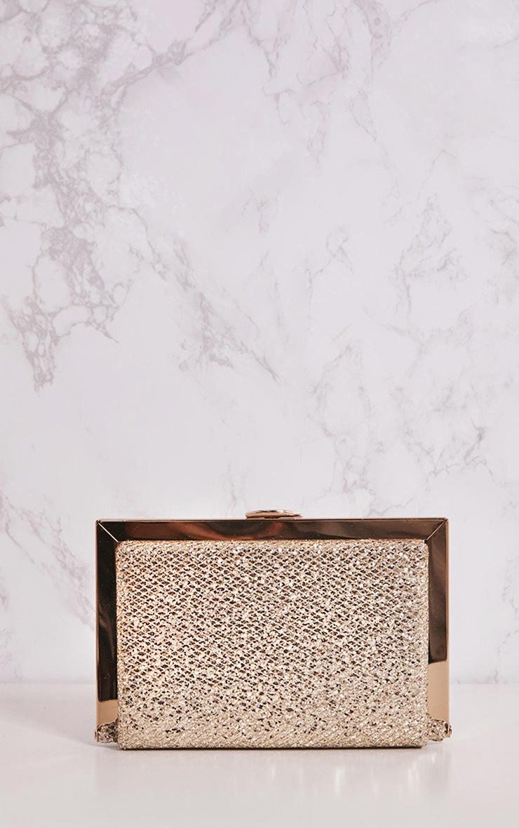 Gold Glitter Metal Clutch Bag 5