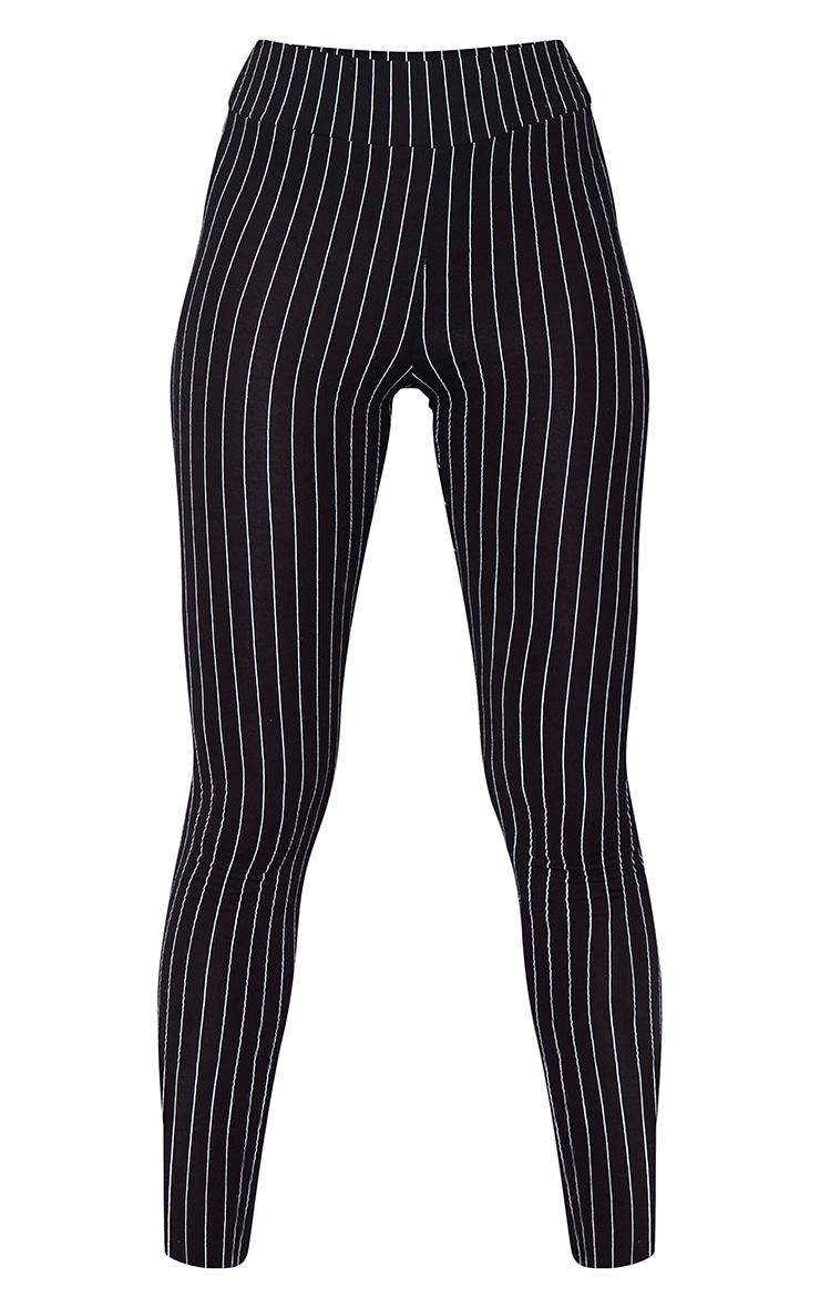 Black Pinstripe High Waisted Leggings 5
