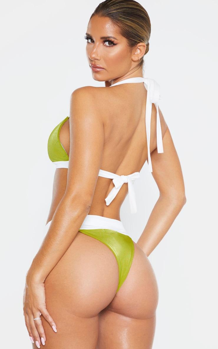 Olive Mini Triangle Contrast Bikini Top 2