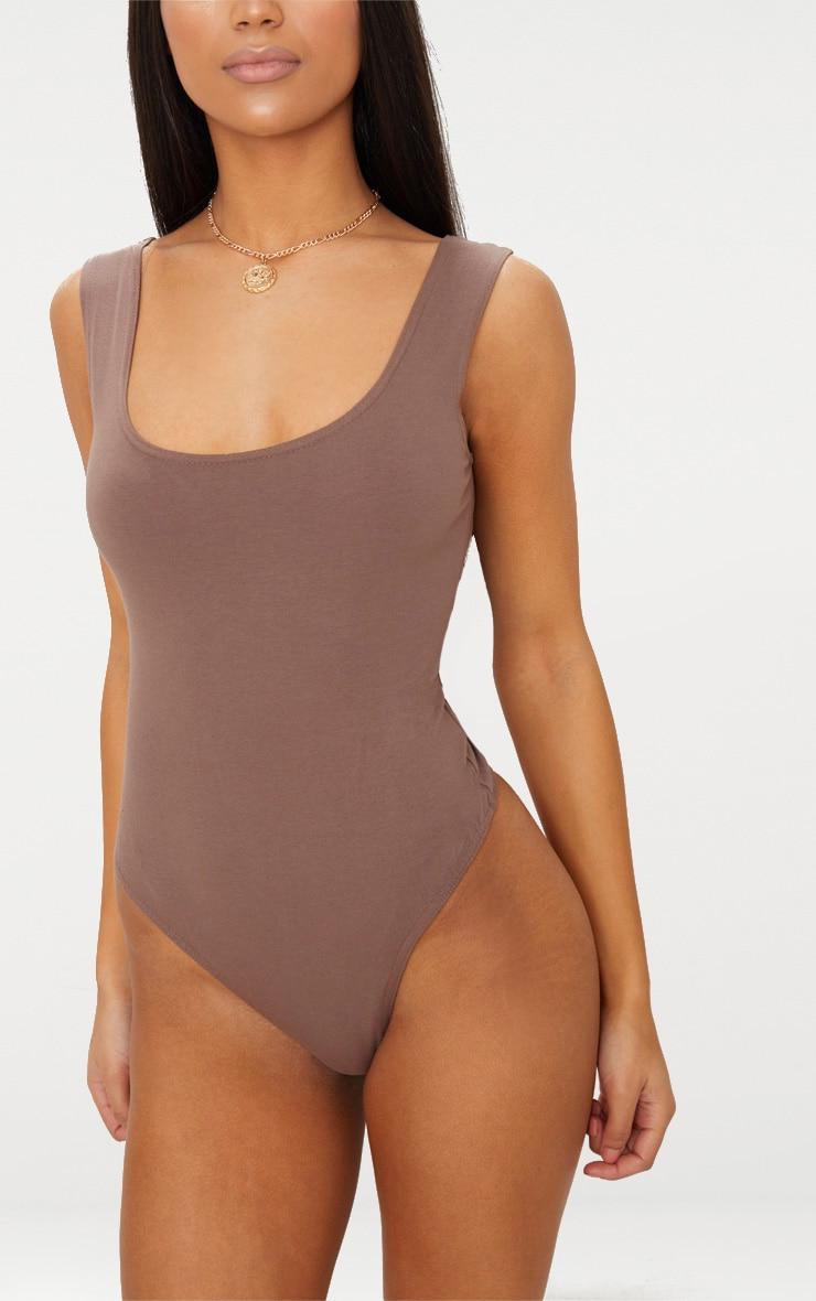 Brown Cotton Stretch Scoop Neck Thong Bodysuit 6