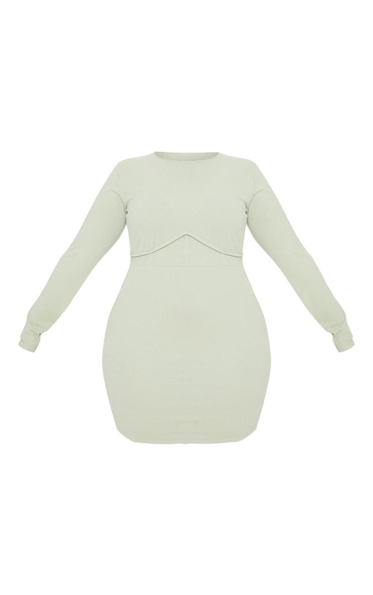Plus Sage Khaki Crepe Corset Detail Long Sleeve Bodycon Dress 3