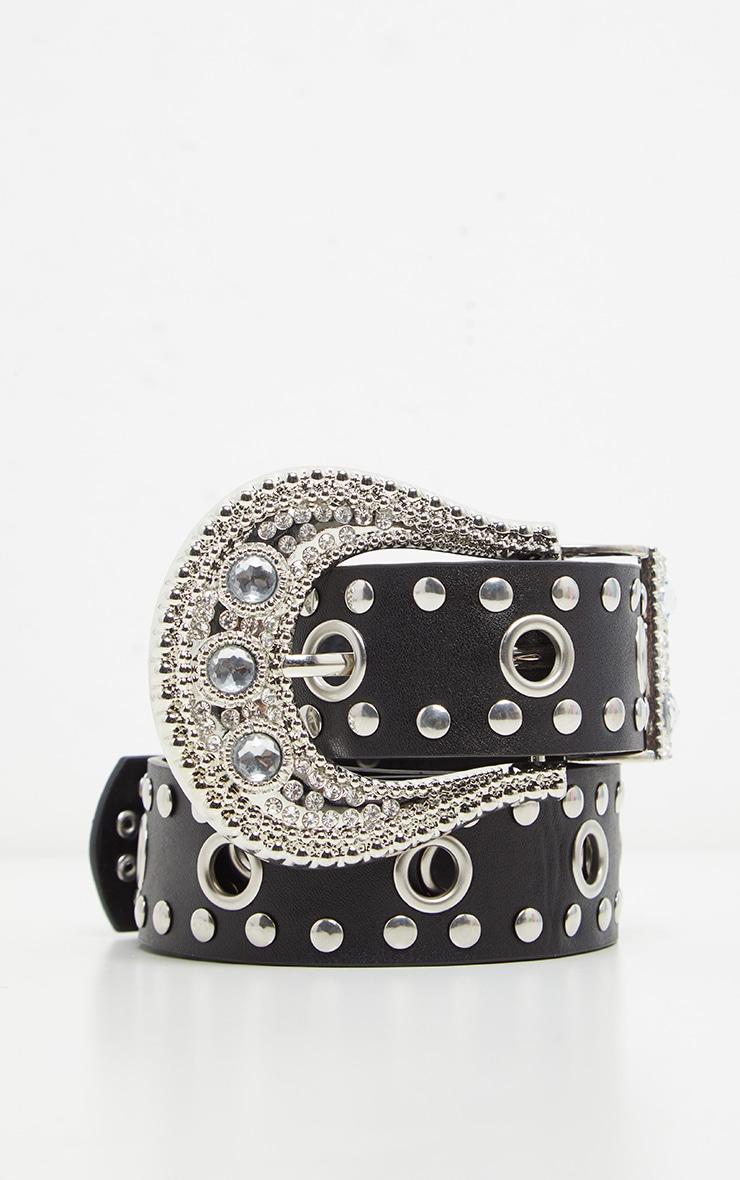 Black Studded Western Style Belt 1