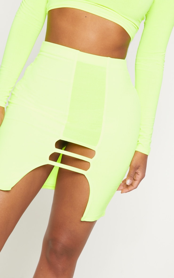 Shape Lime  Slinky Cut Out Detail Bodycon Skirt 5