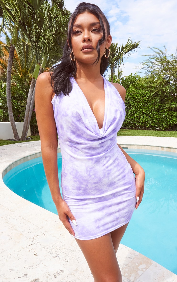 Lilac Tie Dye Halterneck Cowl Bodycon Dress 3