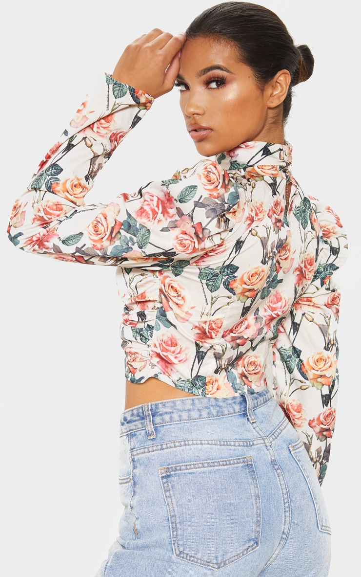 White Floral Printed Ruched High Neck Top 2