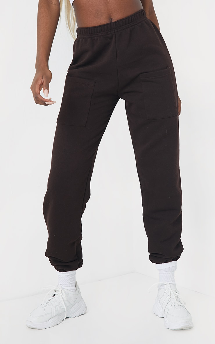 Tall Chocolate Brown Pocket Thigh Casual Joggers 2