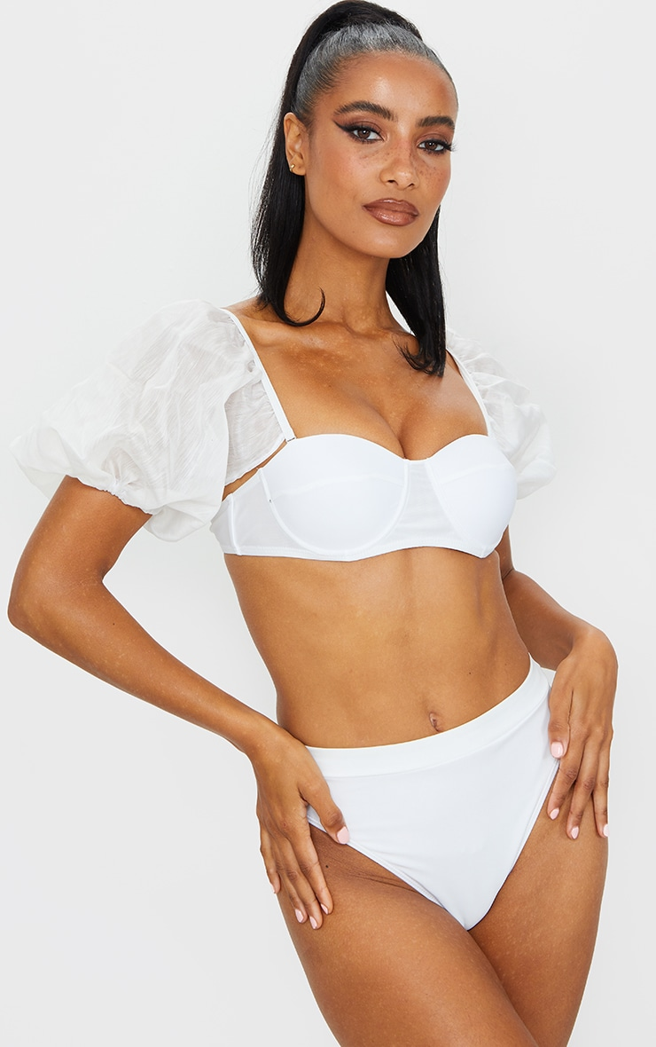 White Mesh Sleeve Bikini Top 1