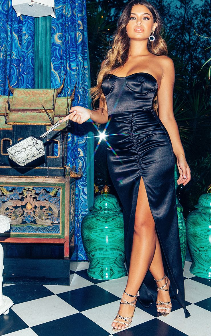 Black Bonded Satin Bandeau Ruched Detail Maxi Dress 1
