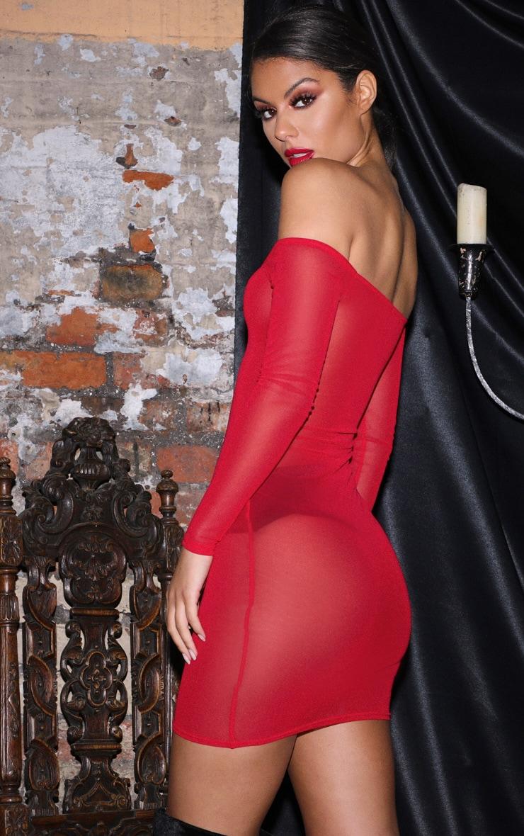 Red Bardot Mesh Bodycon Dress 2