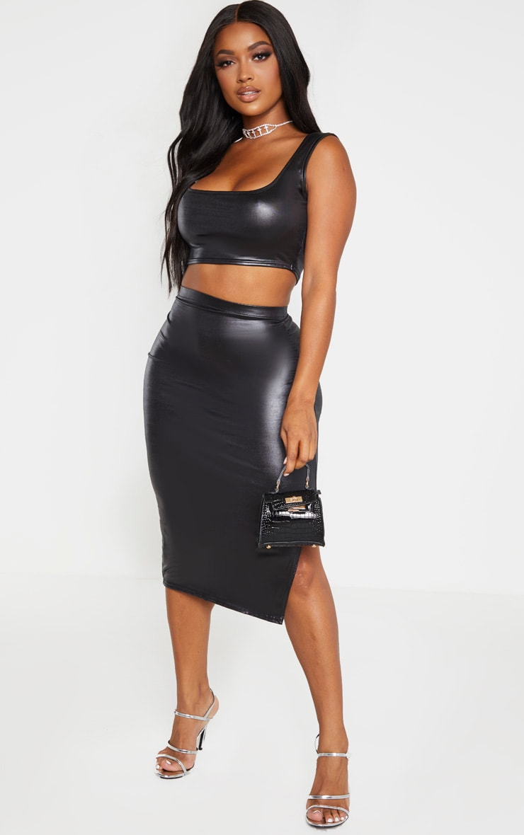 Shape Black Metallic Slinky Split Front Midi Skirt 1