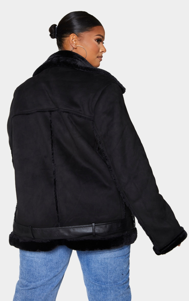 Plus Black Faux Suede Aviator Jacket 2