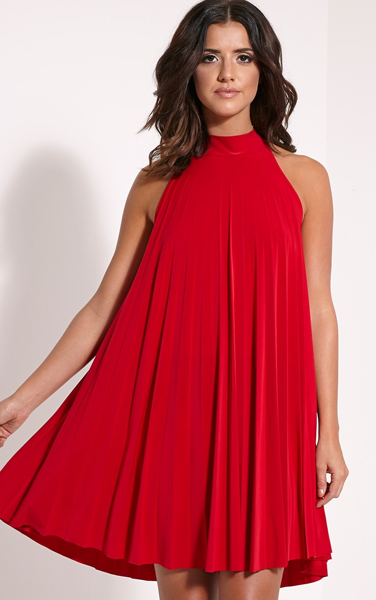 Linzi Red Pleated Tie Neck Mini Dress 1