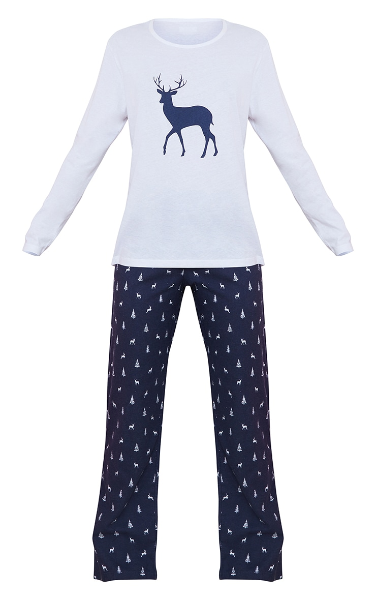 Blue Reindeer Printed Long Sleeve PJ Set 5