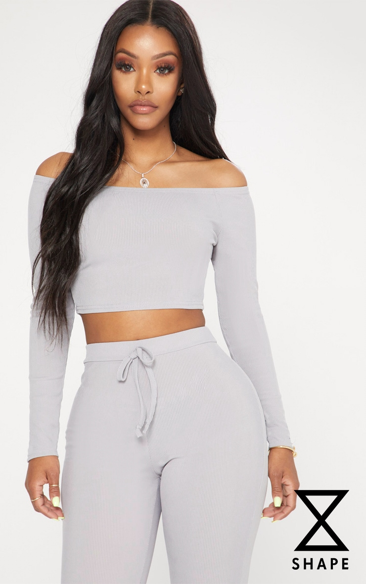 Shape Grey Marl Ribbed Bardot Long Sleeve Crop Top 1