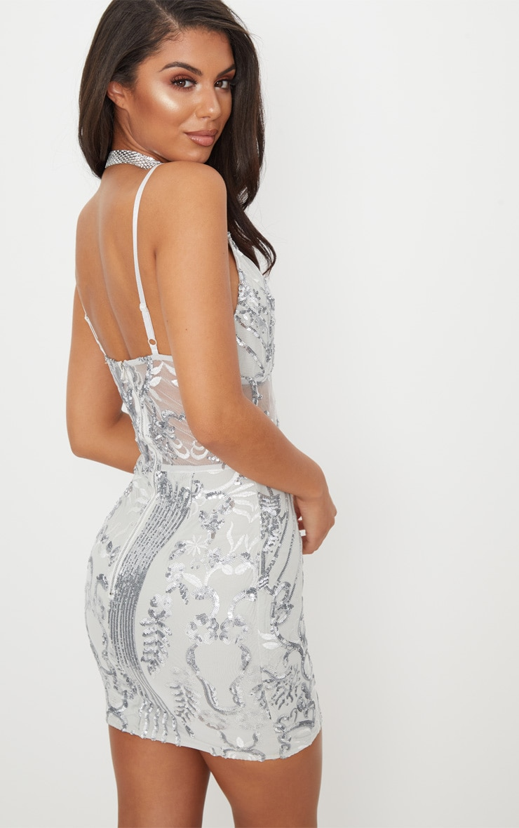 Silver Strappy Sheer Panel Sequin Bodycon Dress 2