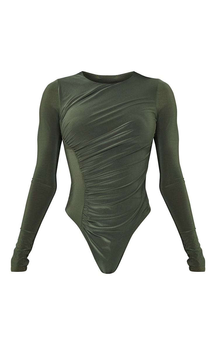 Tall Khaki Ruched Side Slinky Long Sleeve Bodysuit 5