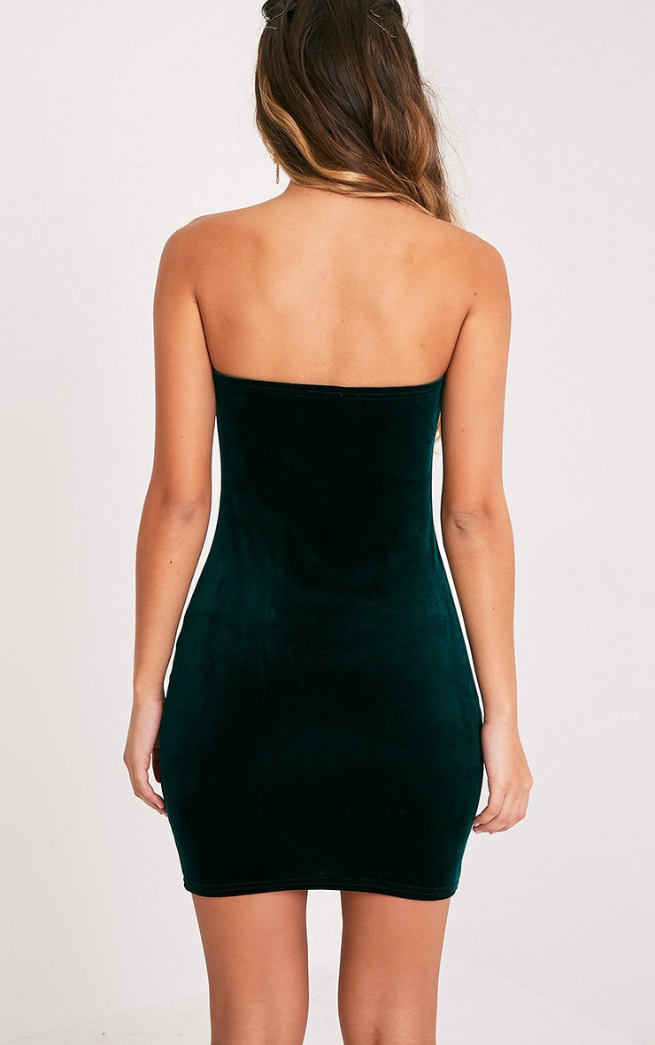 Shany Emerald Green Velvet Bandeau Bodycon Dress  2