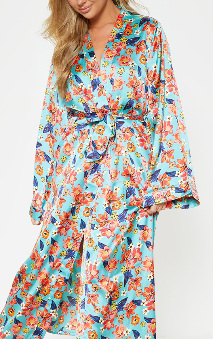 Blue Bright Floral Satin Robe 5
