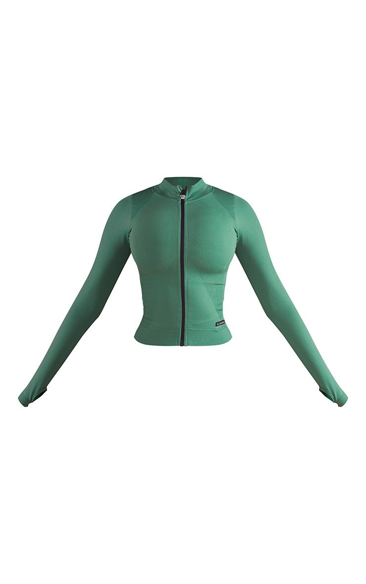 Green Seamless Rib Detail Jacket 5
