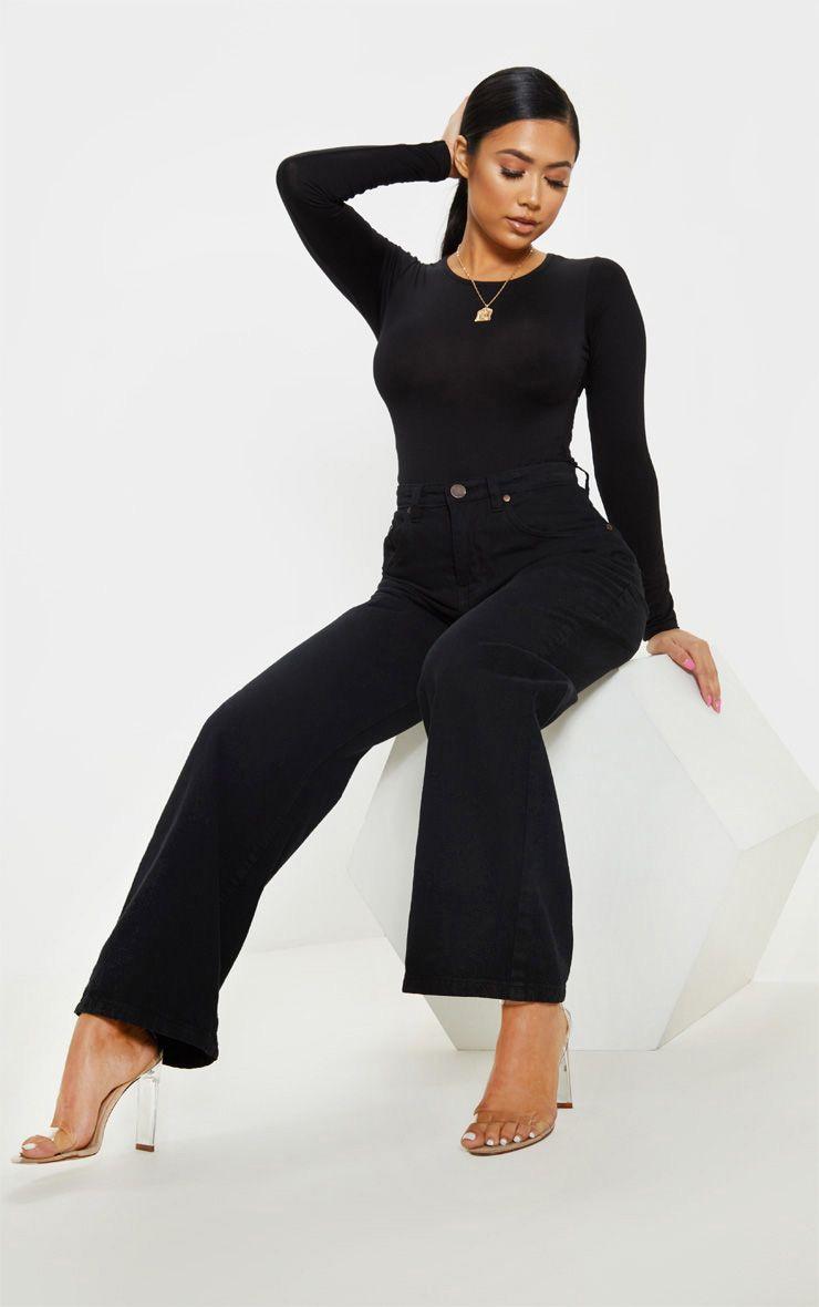 Petite Black Crew Neck Long Sleeve Bodysuit 1