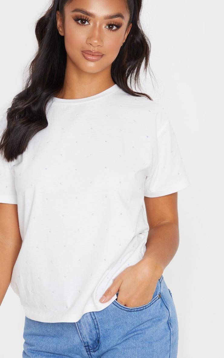 Petite White Diamante T-Shirt  5