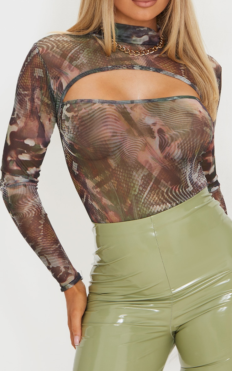 Green Abstract Printed Mesh Cut Out Long Sleeve Bodysuit 4
