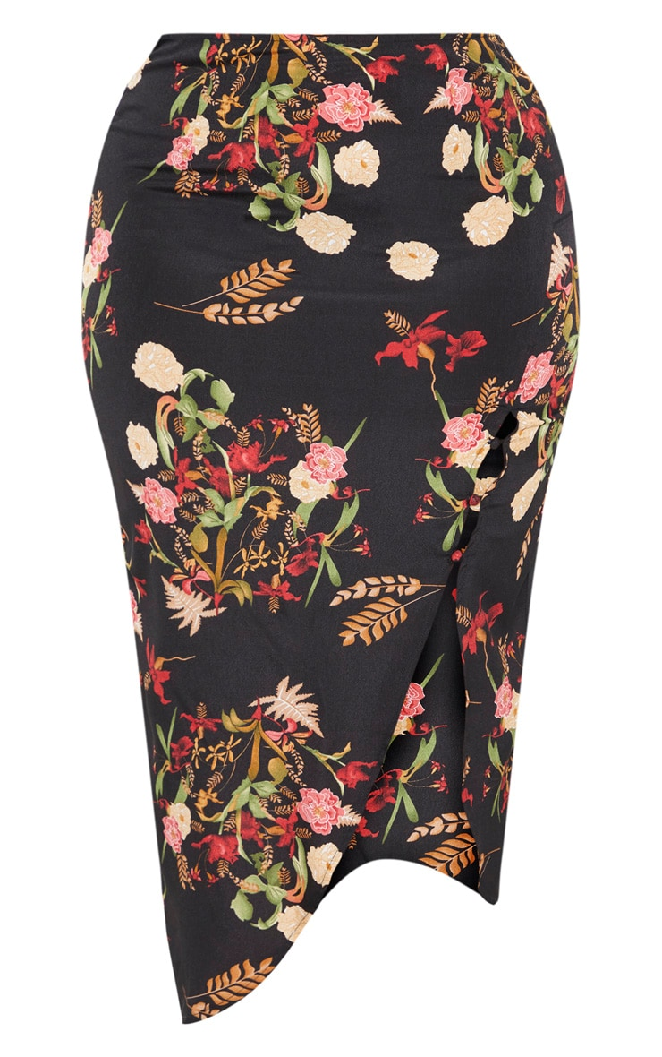 Plus Black Floral Button Detail Midi Skirt 3