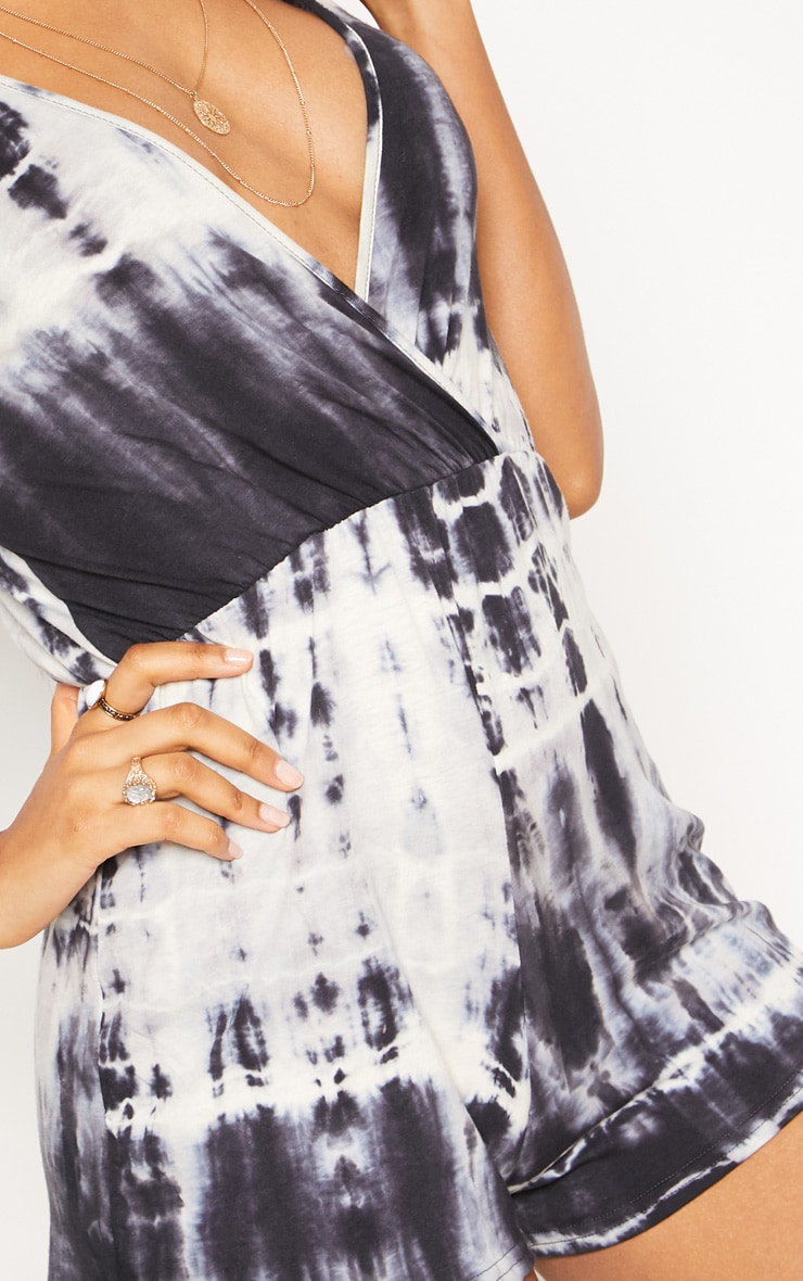 Black Wrap Tie Dye Playsuit 5