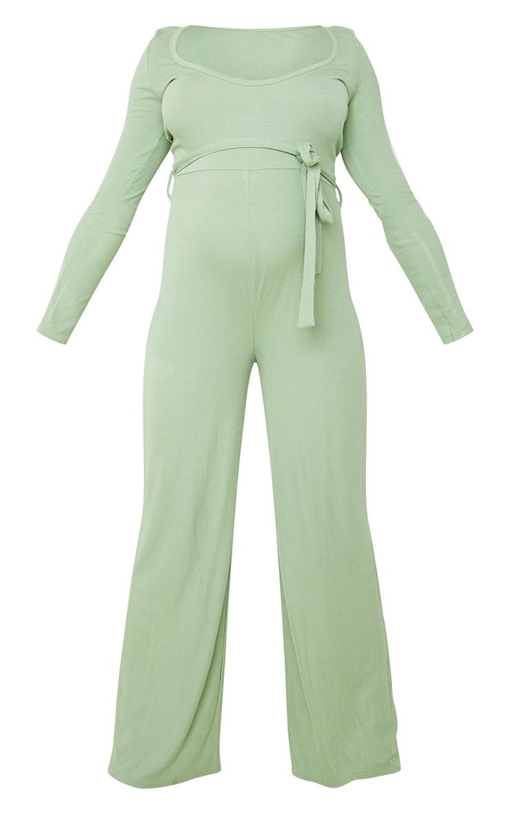 Maternity Sage Green Soft Rib  Tie Waist Jumpsuit 5