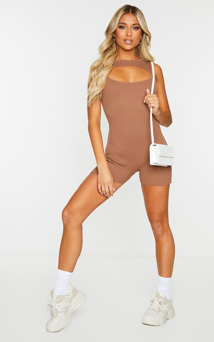 Chocolate Ribbed Knitted Cut Out Unitard 3
