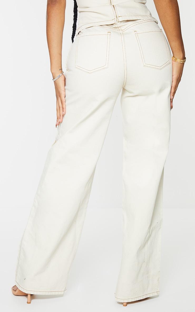 Shape Ecru Fray Side Detail Wide Leg Jeans 3