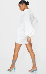 White Plunge Ruched Tie Cuff Shirt Bodycon Dress 2