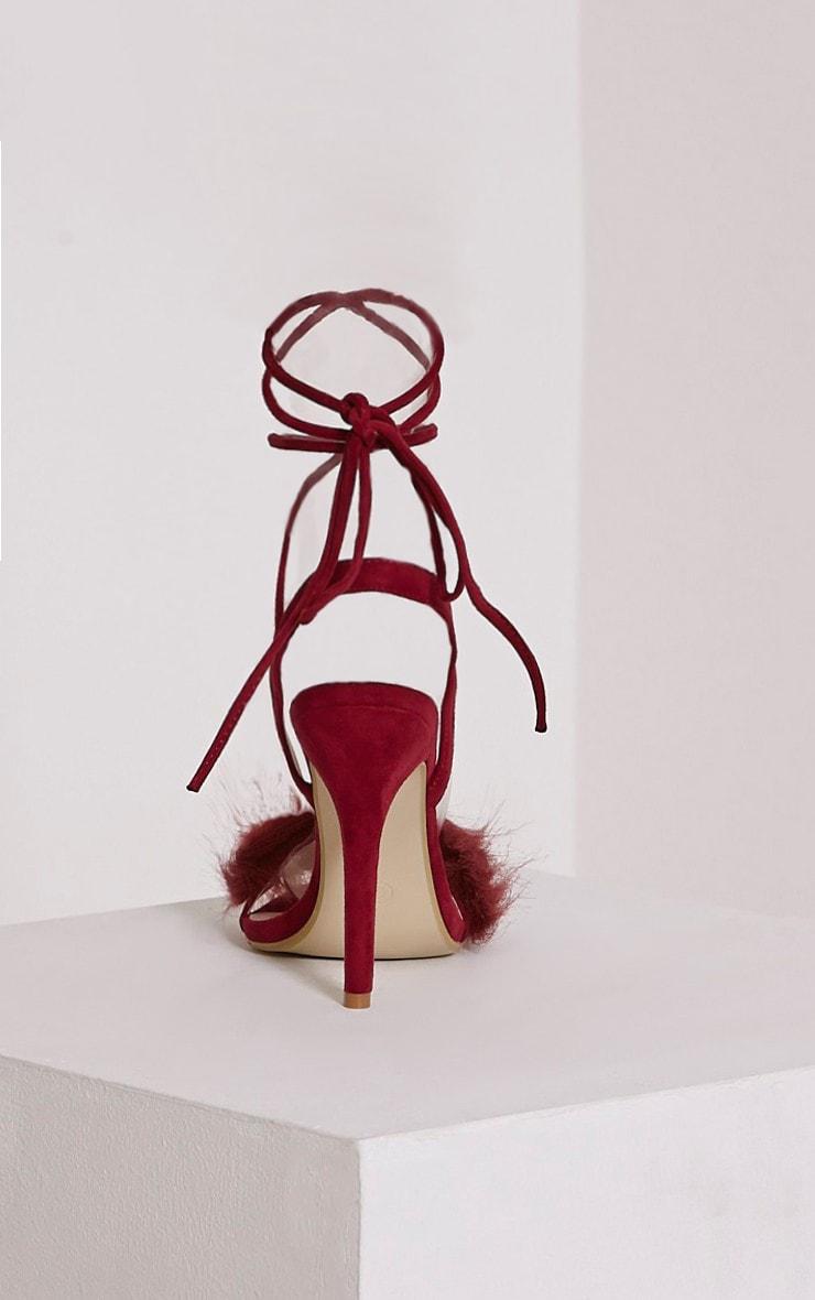 Missie Burgundy Fluffy Tie Sandals 5
