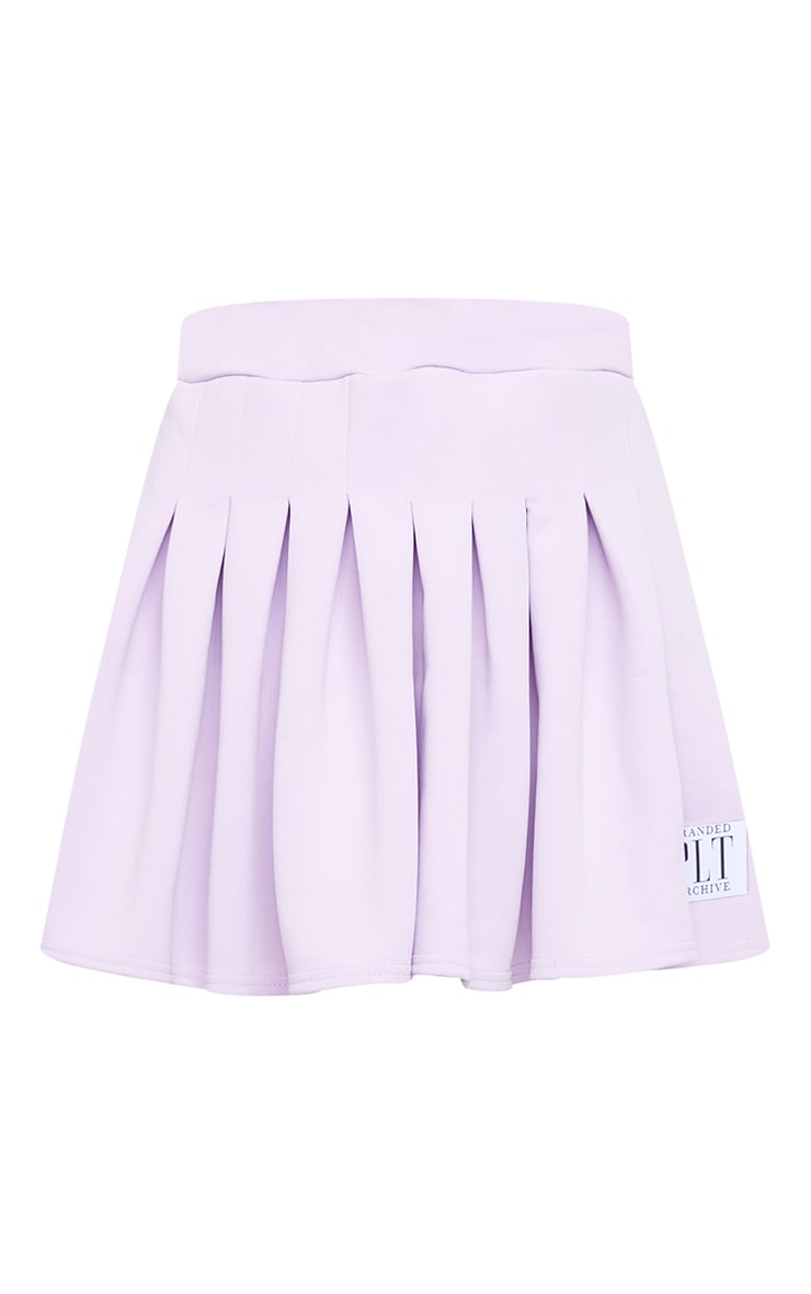 PRETTYLITTLETHING Lilac Badge Pleated Skater Skirt 6