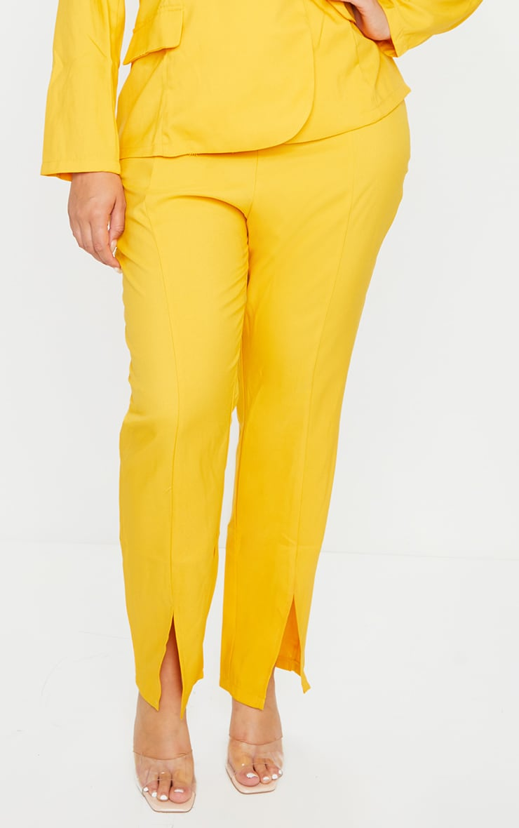 Plus Chartreuse Woven Split Front Pants 2