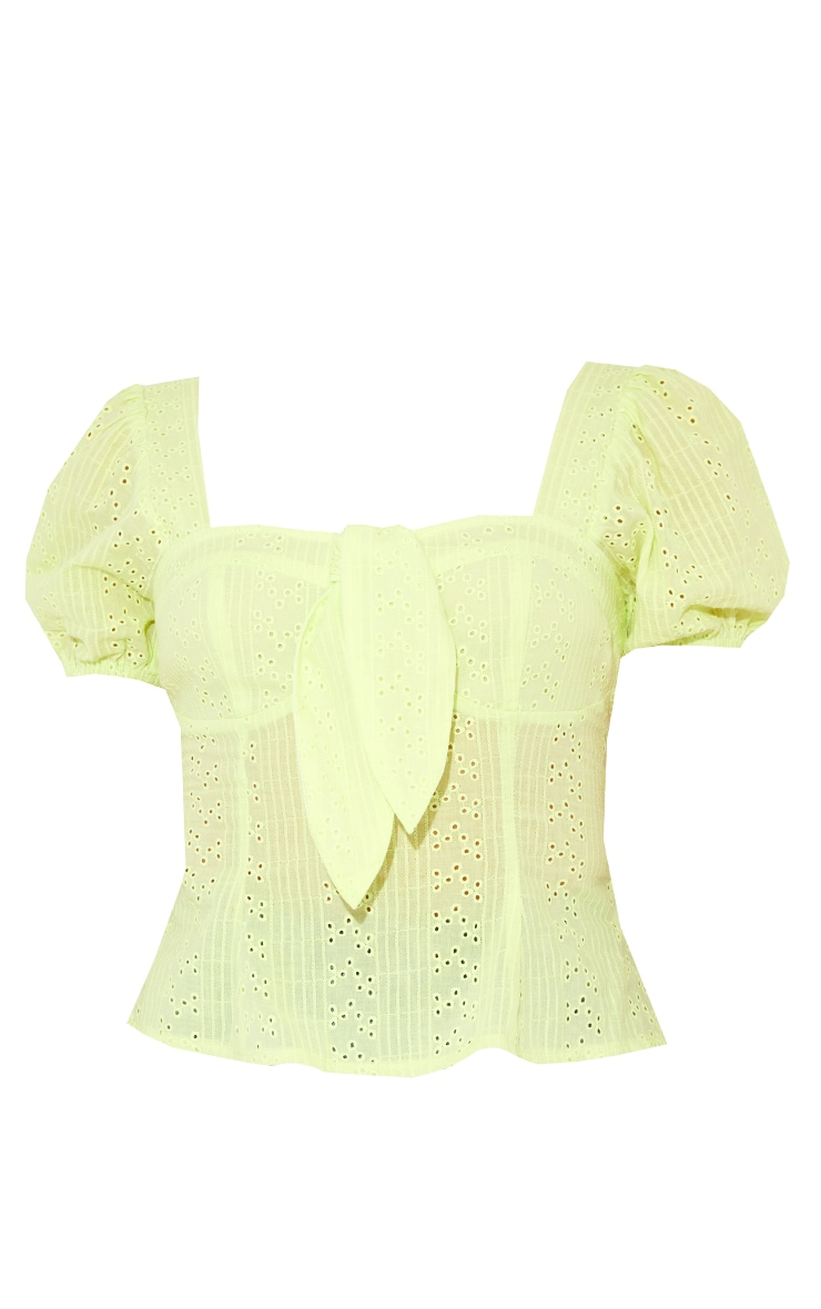Lime Broderie Anglaise Puff Sleeve Tie Front Top 5
