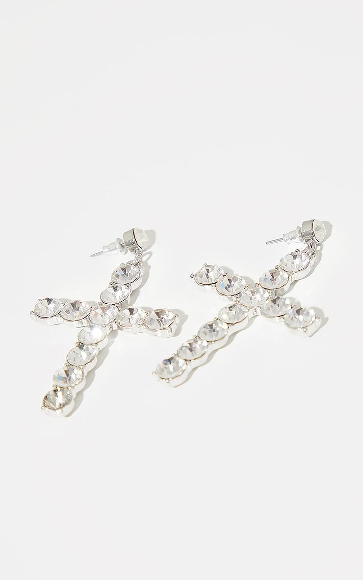 Silver Diamante Oversized Cross Earrings 2