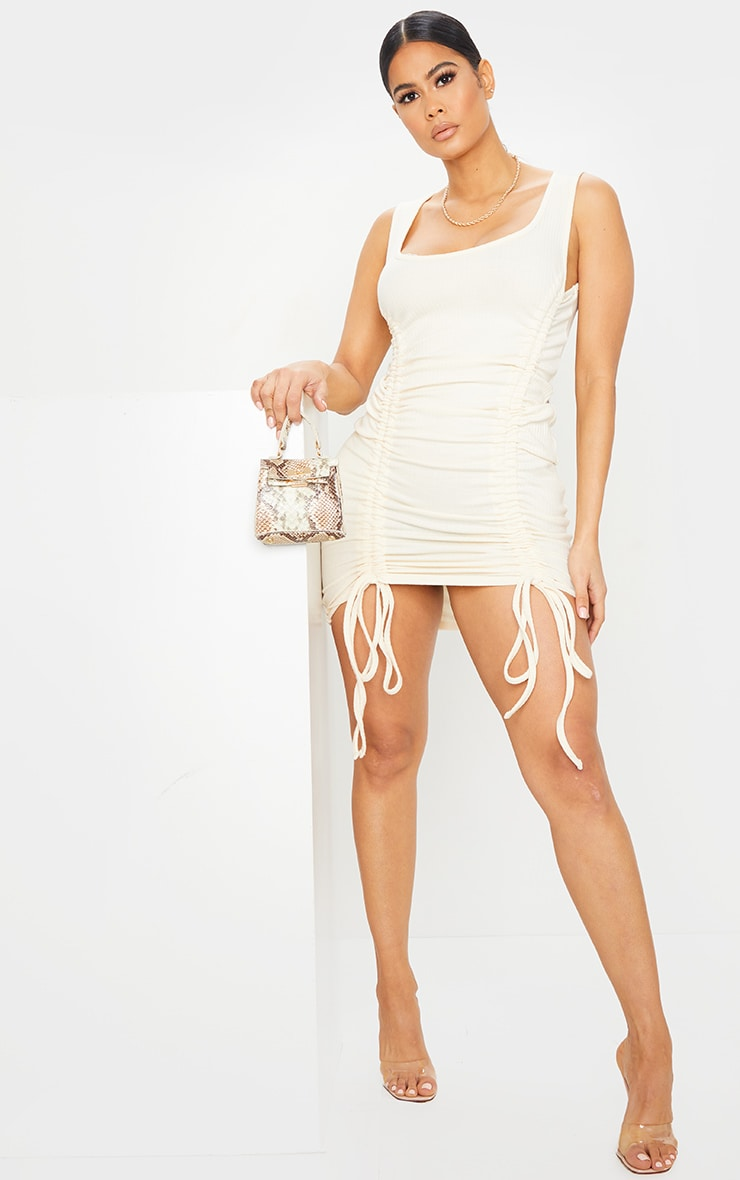 Cream Ribbed Sleeveless Ruched Bodycon Dress 3