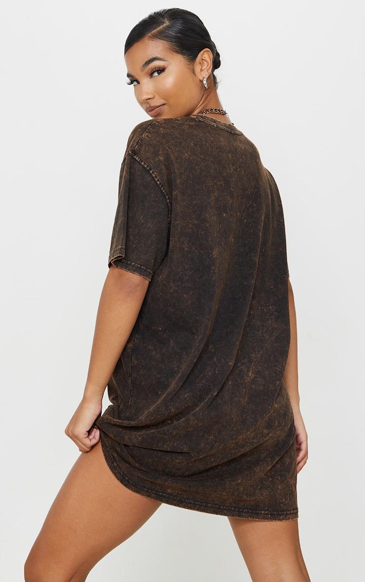 PRETTYLITTLETHING Rust Acid Wash International Slogan Oversized T Shirt Dress 2