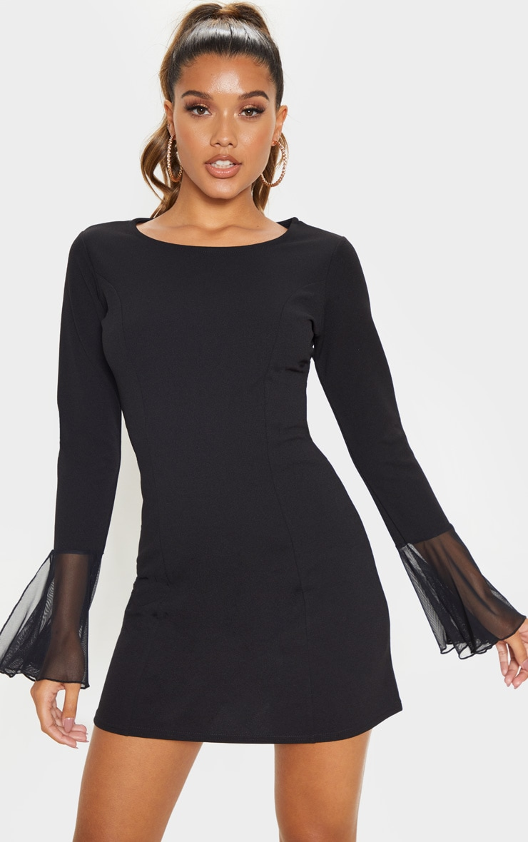 Black Frill Sleeve Detail Shift Dress 1
