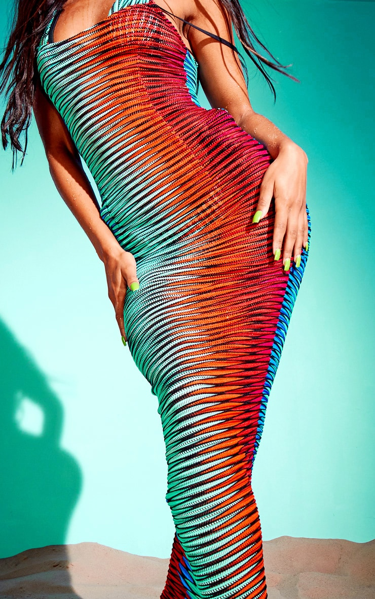 Multi Laser Cut Striped Maxi Beach Dress 4