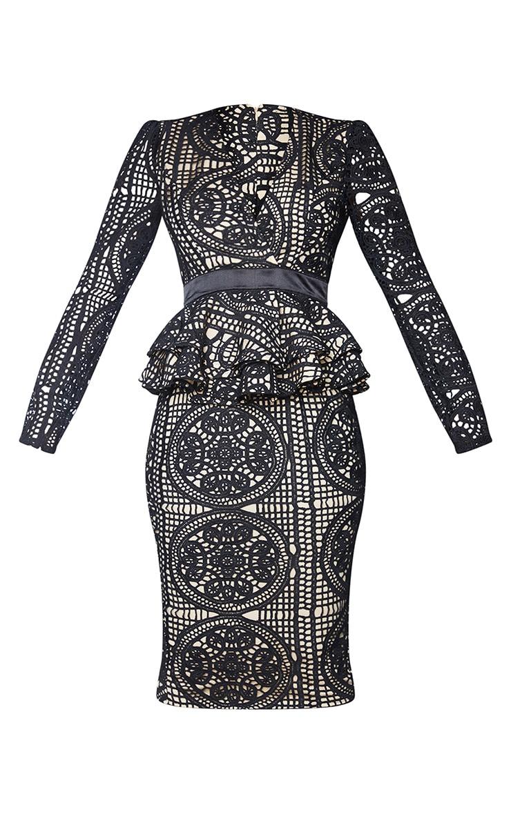 Black Lace Plunge Peplum Frill Midi Dress 5