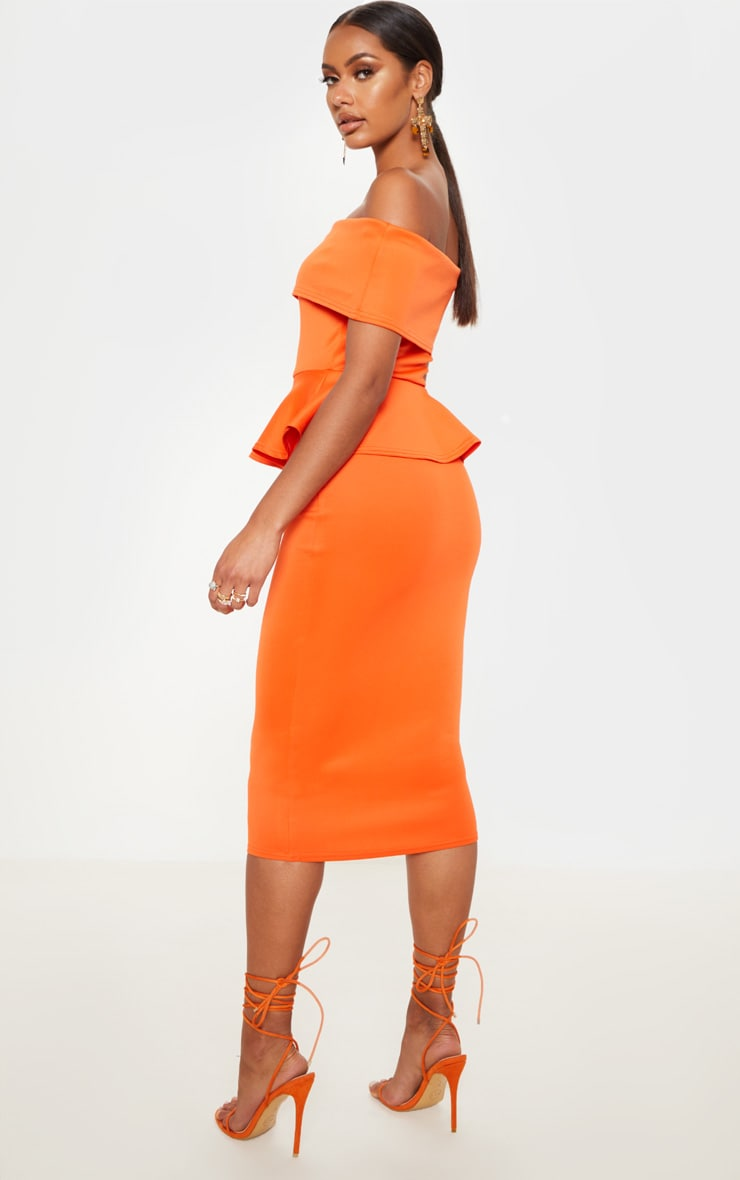 Bright Orange Bardot Peplum Detail Midi Dress 2