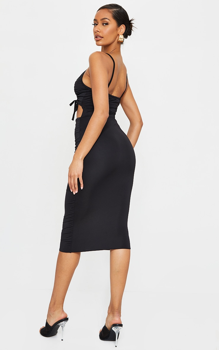 Black Slinky Double Ruched Bust Cut Out Midi Dress 2